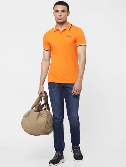 Orange Contrast Tipping Polo T-shirt