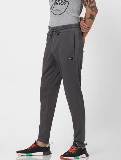 Grey Mid Rise Self Design Sweatpants