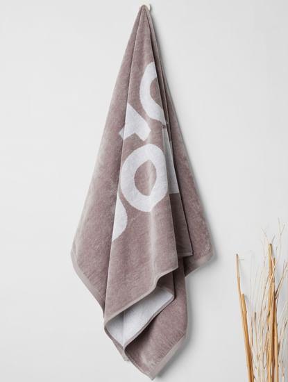 Grey Logo Print Towel
