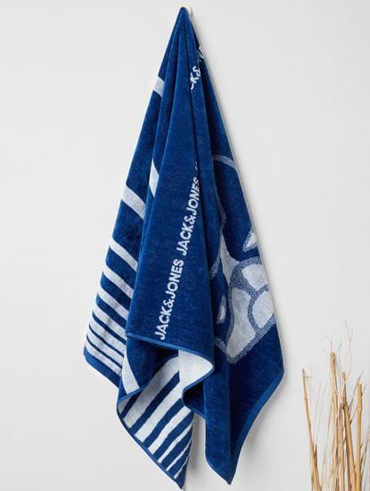 Dark Blue Logo Print Towel