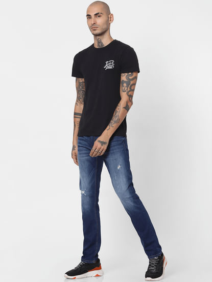 Blue Mid Rise Ripped Slim Jeans