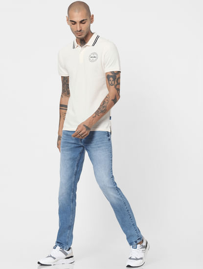 Light Blue Mid Rise Washed Slim Jeans