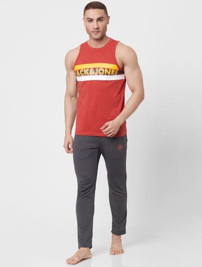 Red Striped Logo Print Vest