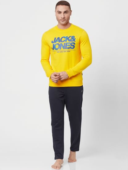 Bright Yellow Logo Print Sweatshirt