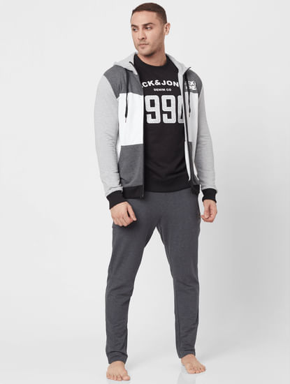 Grey Colourblocked Hooded Sweatshirt