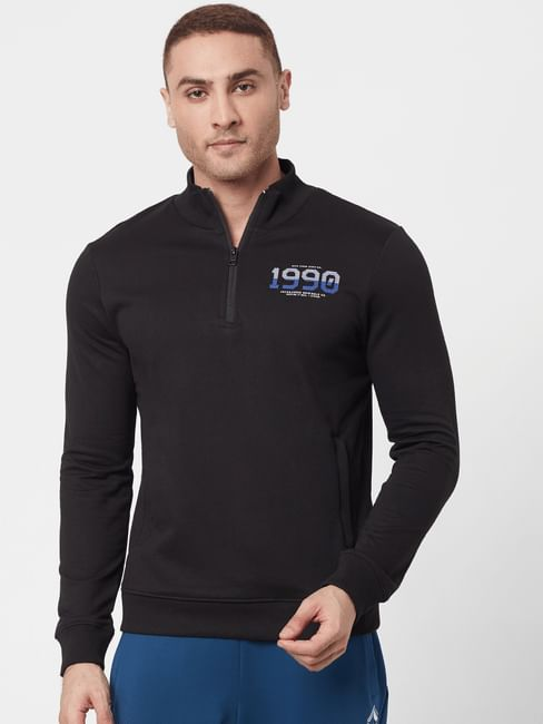 Black High Neck Logo Printed Sweatshirt