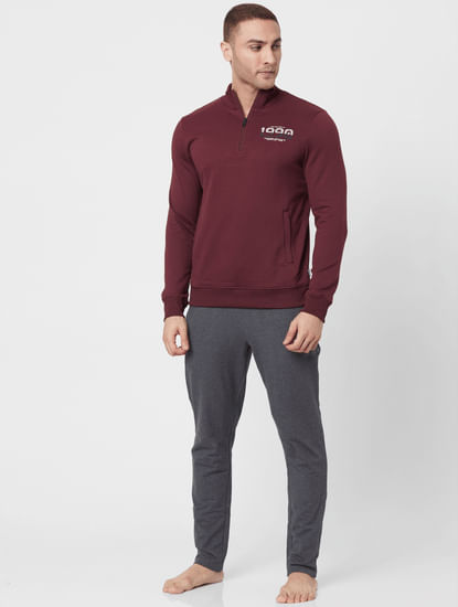 Maroon High Neck Logo Printed Sweatshirt