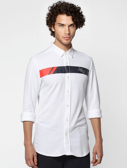 White Full Sleeves Slim Fit Patch Print Shirt