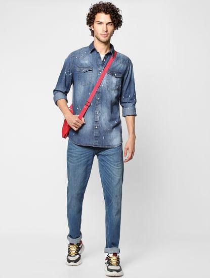 Full Sleeves Indigo Dyed Denim Regular Fit Shirt