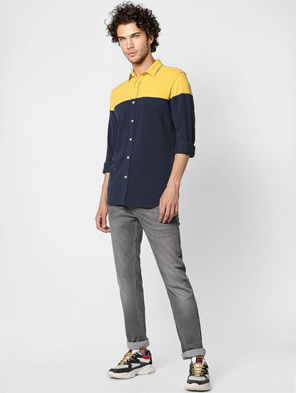 Navy Colourblocked Slim Fit Full Sleeves  Shirt