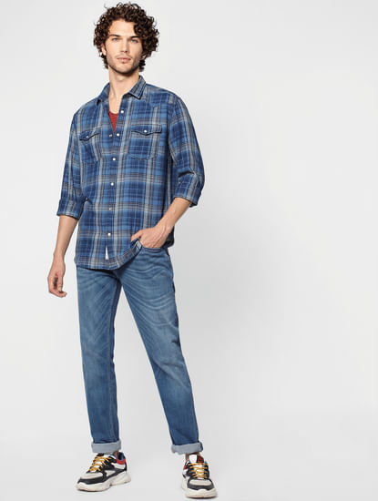 Blue Check Regular Fit Full Sleeves Shirt