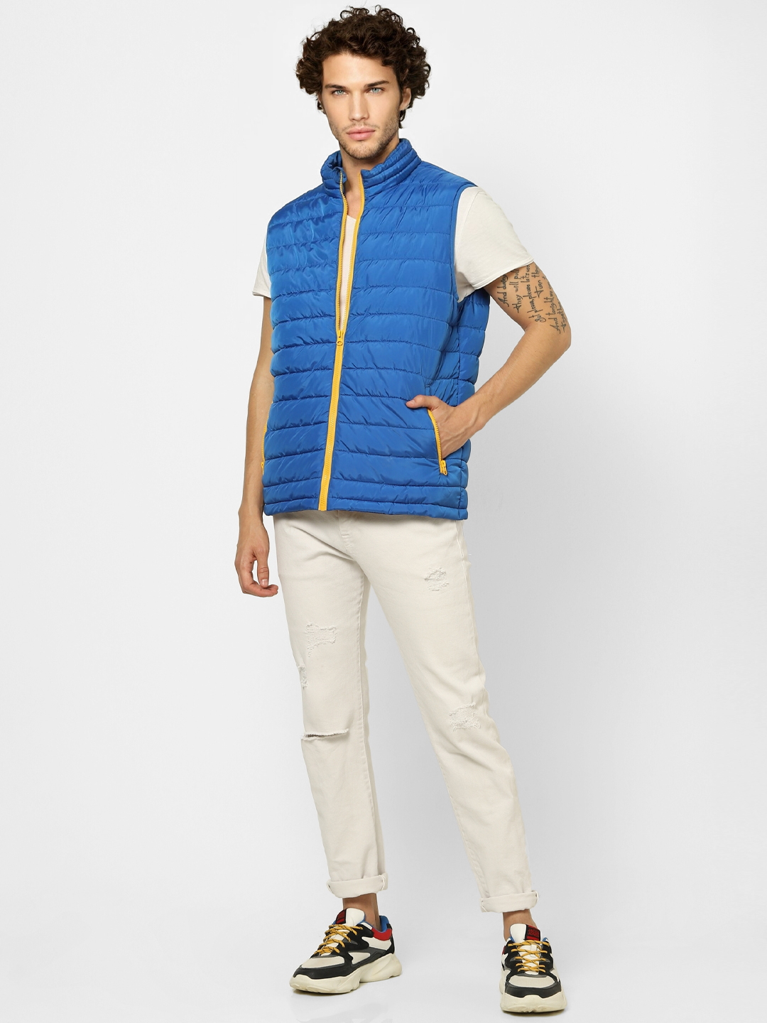 Blue Zip Up Puffer Jacket