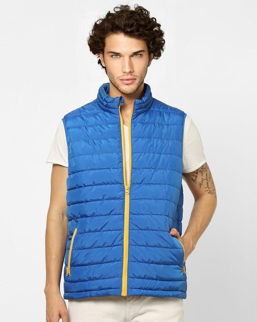 Blue Zip Up Puffer Jacket