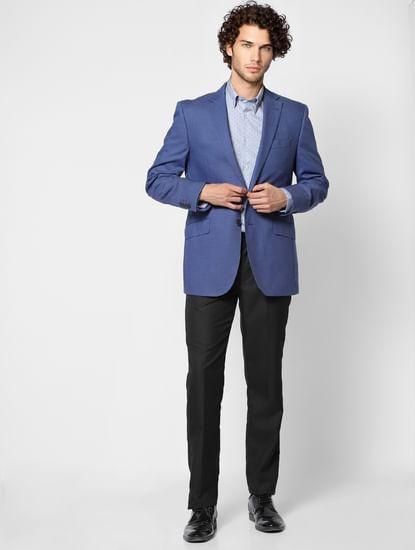 Blue Slim Fit Full Sleeves Polka Dot Shirt