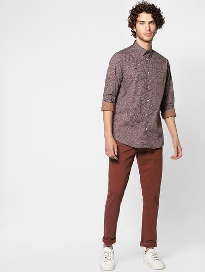 Shadow Purple Slim Fit Full Sleeves All Over Print Shirt