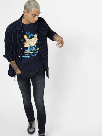 X Johnny Bravo Blue Graphic Print Crew Neck T-shirt