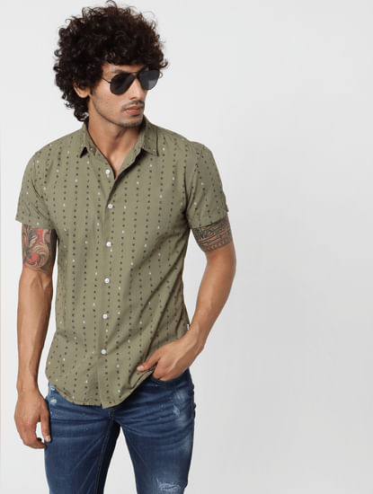 Green Short Sleeves All Over Print Shirt