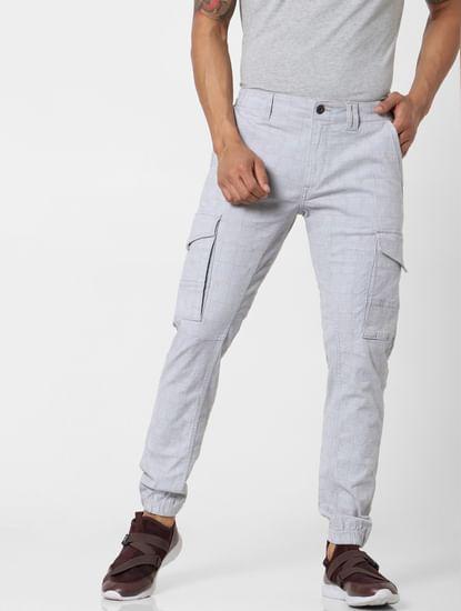 Light Grey Mid Rise Check Pants