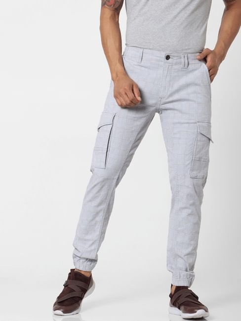 Light Grey Mid Rise Check Pants