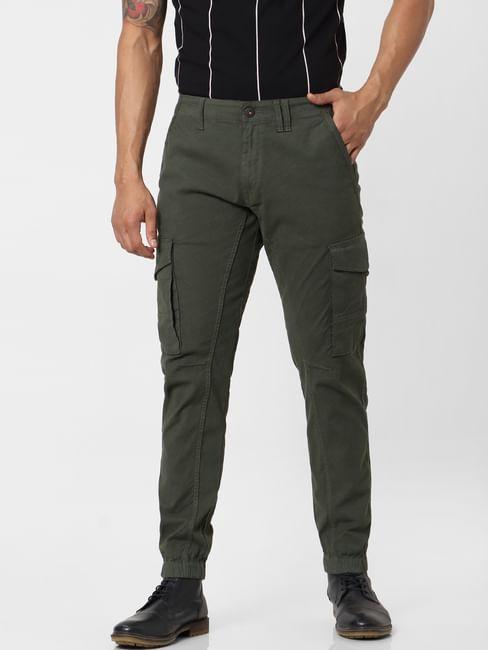 Dark Green Mid Rise Cargo Pants