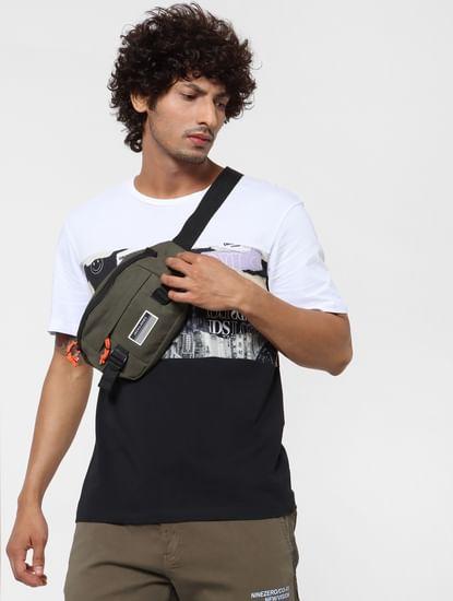 Black & White Colourblocked Crew Neck T-shirt