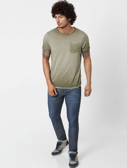 Blue Mid Rise Liam Skinny Fit Jeans