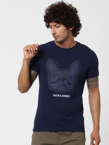 Dark Blue Denim Patchwork Crew Neck T-shirt
