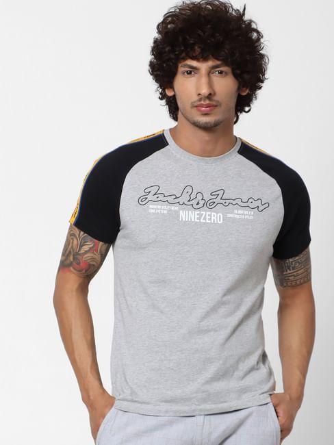 Grey Logo Print Tape Detail Crew Neck T-shirt