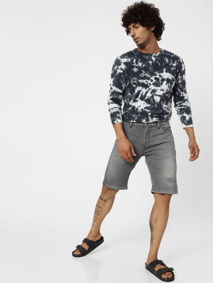 Grey Mid Rise Regular Fit Denim Shorts