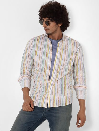 Multi-coloured Full Sleeves Striped Shirt