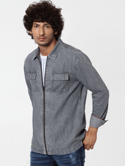 Grey Full Sleeves Zip Up Shirt