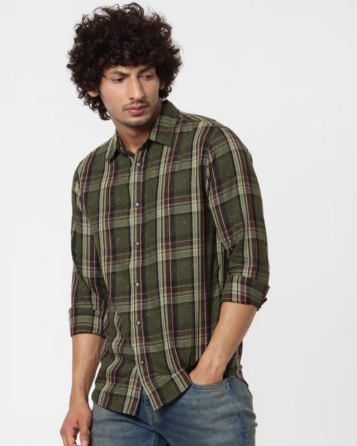 Olive Green Full Sleeves Check Shirt