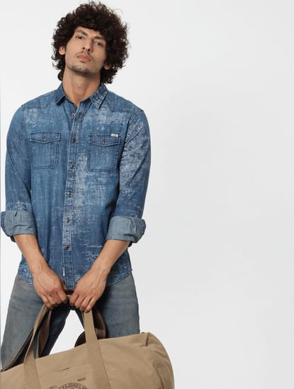 Blue Full Sleeves Abstract Print Shirt