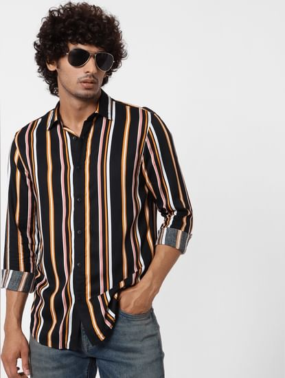 Black Full Sleeves Striped Shirt