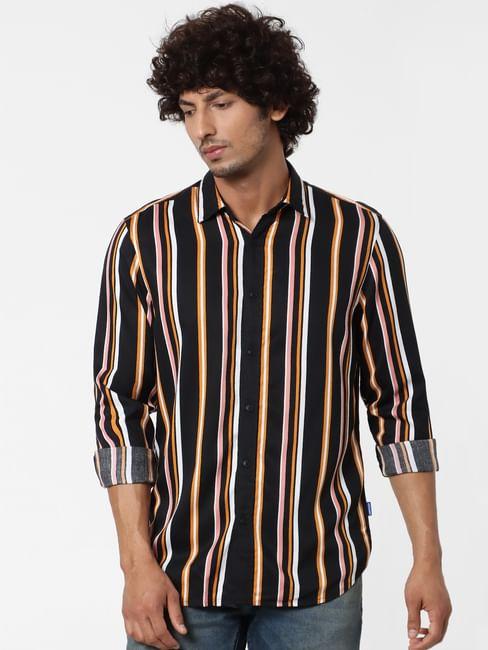 Black Full Sleeves Striped Shirt