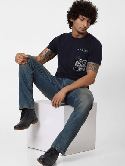 Navy Blue Scanner Print Crew Neck T-shirt