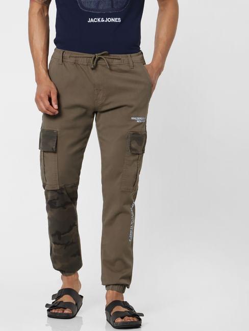 Olive Green Mid Rise Camo Print Pants