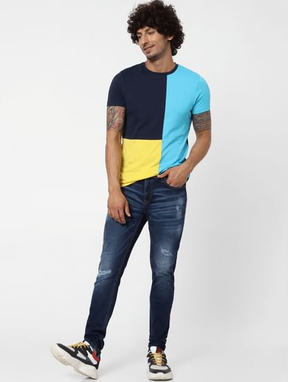 Blue Mid Rise Liam Distressed Skinny Fit Jeans