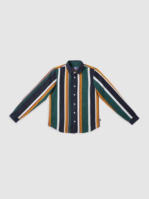 Boys Multi-coloured Striped Full Sleeves Shirt