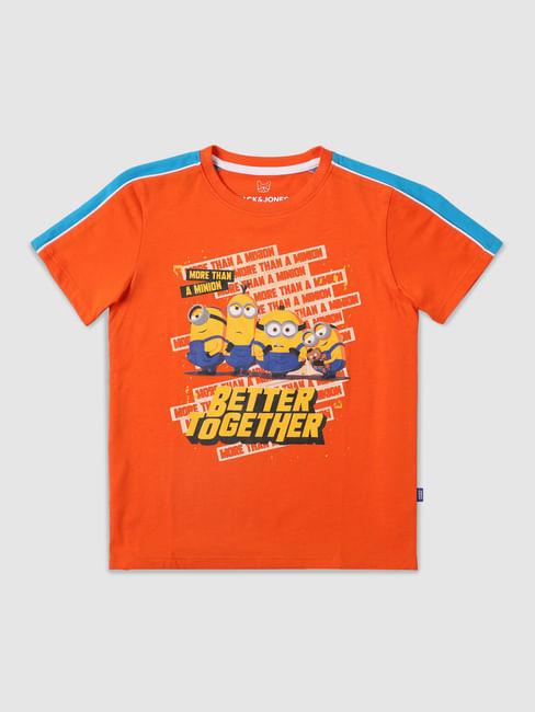Boys Orange Minion Print Crew Neck T-shirt