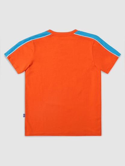 Junior Orange Minion Print Crew Neck T-shirt
