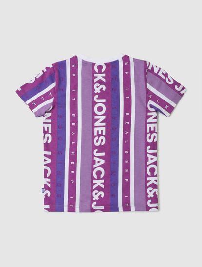 Junior Purple Striped Logo Print Crew Neck T-shirt