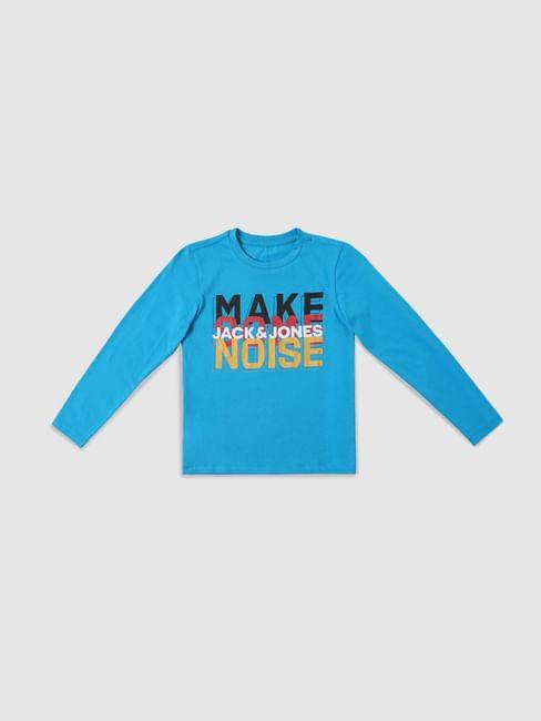 Boys Blue Text Print Print Full Sleeves T-shirt