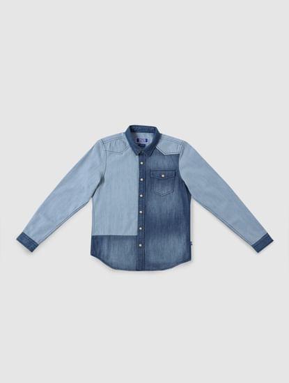 Junior Blue Washed Full Sleeves Denim Shirt