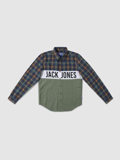 Junior White Logo Print Full Sleeves Shirt