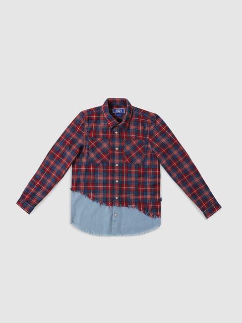 Junior Red Check Denim Patch Full Sleeves Shirt