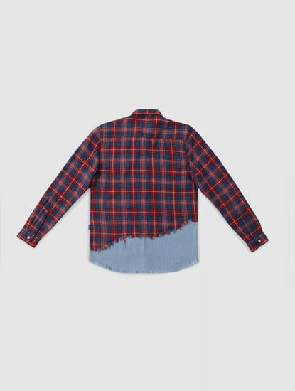 Junior Red Check Denim Patch Full Sleeves Shirt