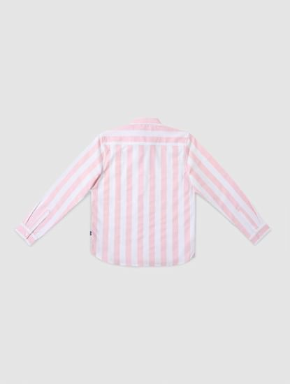 Junior Pink Striped Full Sleeves Shirt