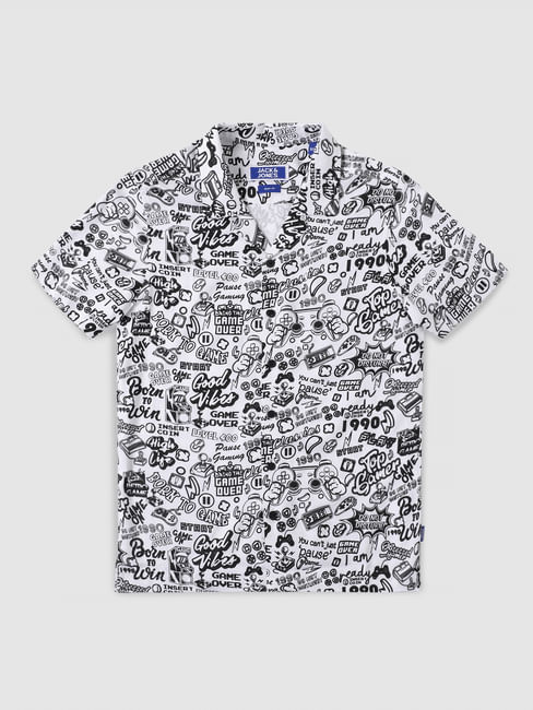 Boys White All Over Graphic Print Shirt