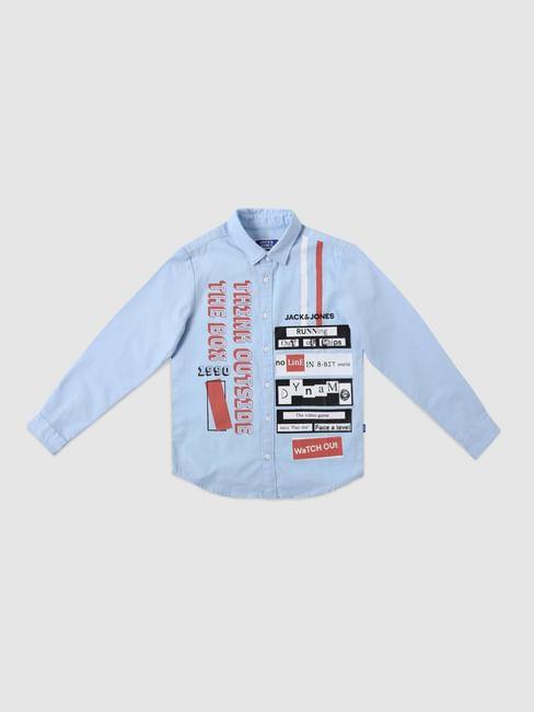 Junior Light Blue Graphic Print Full Sleeves Shirt